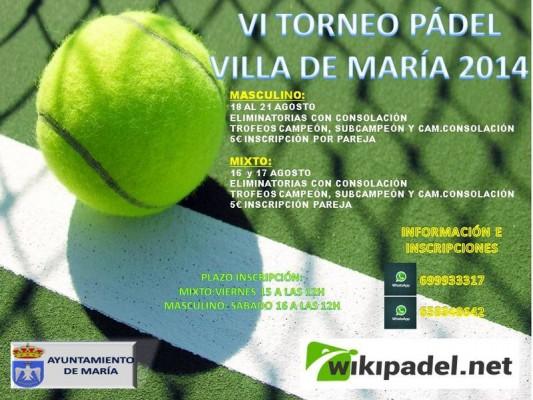 VI Torneo pádel Villa de María