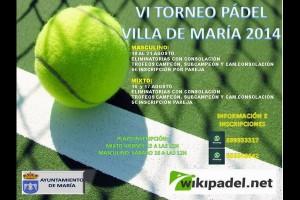 VI TORNEO DE PADEL VILLA DE MARIA. 16-21 AGOSTO