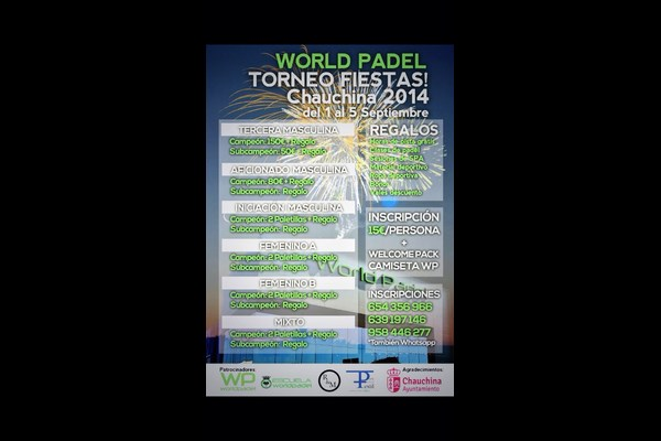 TORNEO PADEL FIESTAS DE CHAUCHINA, DEL 1 AL 5 DE SEPTIEMBRE