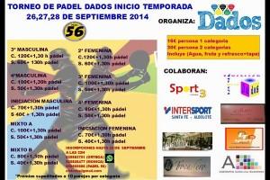 EN JUEGO: TORNEO DE PADEL DADOS INICIO DE TEMPORADA, 26-28 SEPTIEMBRE