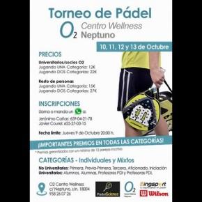 TORNEO PADEL 02 CENTRO WELLNES NEPTUNO. CUADROS Y HORARIOS