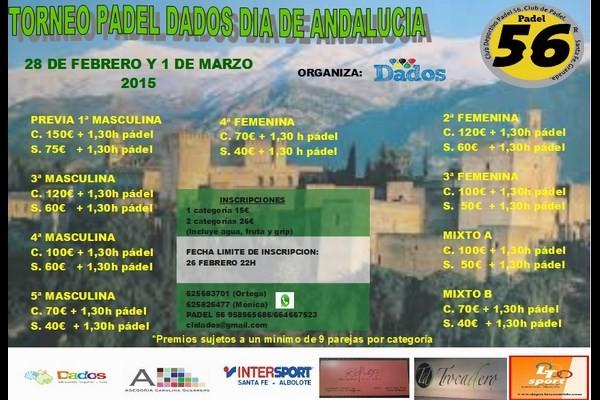 TORNEO DE PADEL DADOS DIA DE ANDALUCIA