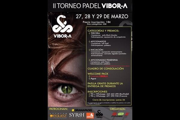 II TORNEO PADEL VIBORA. HORARIOS : VIERNES, 27 MARZO.