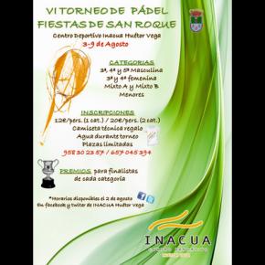 """VI TORNEO DE PADEL """"FIESTAS DE SAN ROQUE"""". HUETOR VEGA, 3-9 AGOSTO"""