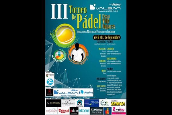 ABIERTAS INSCRIPCIONES III TORNEO DE PADEL VILLA DE OGIJARES, 8-13 SEPTIEMBRE.
