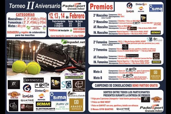 ULTIMO DIA INSCRIPCIONES TORNEO ANIVERSARIO PADEL SPORT GRANADA, 12-14 DE FEBRERO.