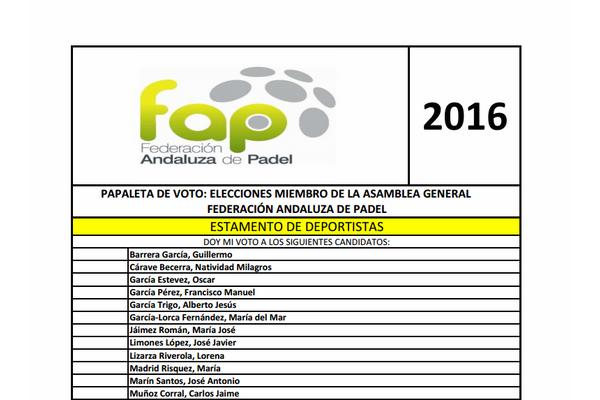 ELECCIONES FEDERACIÓN ANDALUZA DE PÁDEL