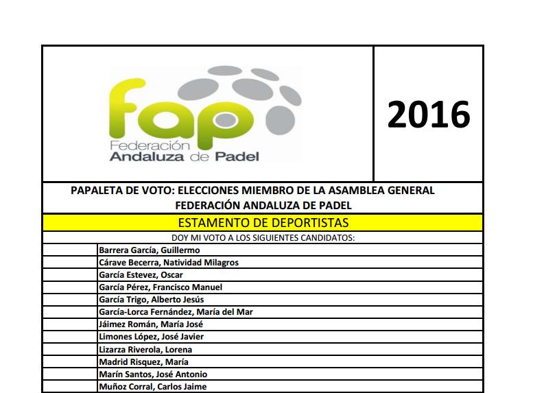 VOTO POR CORREO  ELECCIONES FEDERACIÓN ANDALUZA DE PÁDEL
